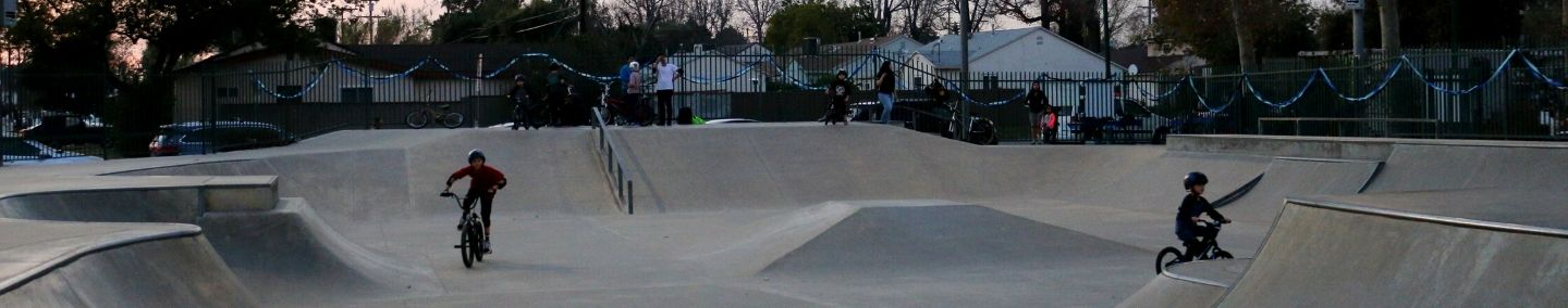 Two BMX bicycle participants are at Valley Skate Park in Burbank, CA.