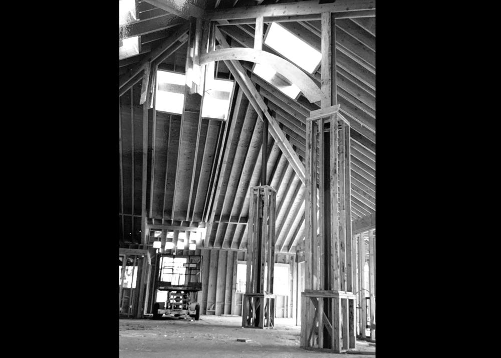 Interior ceiling view during 1980's remodel Image