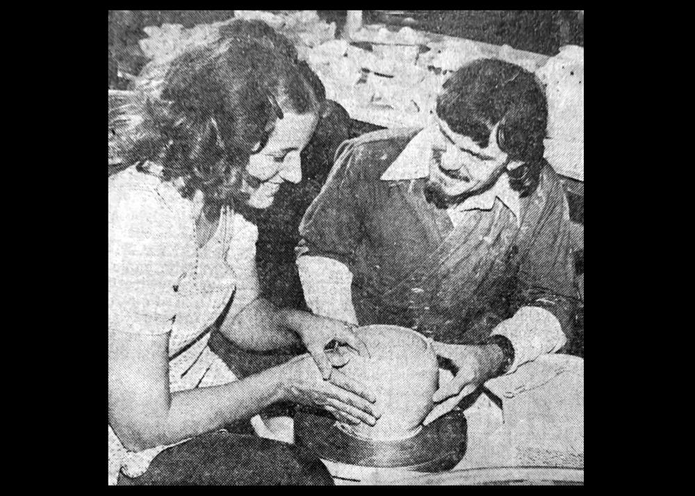 News clipping of Claude Hulce teaching pottery Image